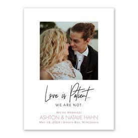 Wedding Announcements: Not Patient Wedding Announcement
