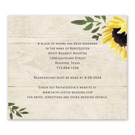 Wedding Reception Cards: Golden Sunflower Information Card