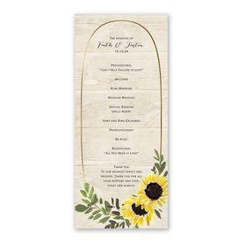 Golden Sunflower Wedding Program