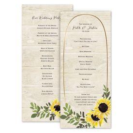 Wedding Programs: Golden Sunflower Wedding Program