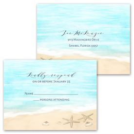 Tropical Sunset - Invitation with Free Response Postcard