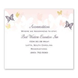 Wedding Reception Cards: Aflutter Information Card