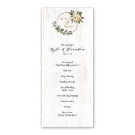 Greenery Wreath Mr. and Mr. Wedding Program