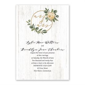 Greenery Wreath Mrs. and Mrs. Invitation with Free Response Postcard