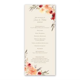 Apricot Floral Wedding Program