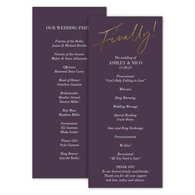 Wedding Programs: Finally Wedding Program