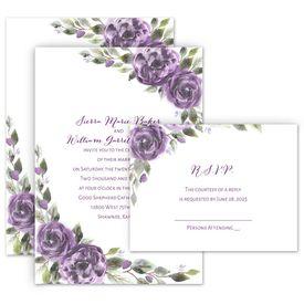 Wedding Invites Free Respond Cards: Pretty in Purple Invitation with Free Response Postcard