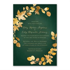 Golden Leaves Hunter Invitation with Free Response Postcard
