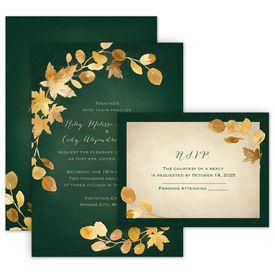 Wedding Invitations: Golden Leaves Hunter Invitation with Free Response Postcard
