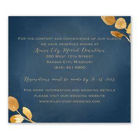 Wedding Reception Cards: Golden Leaves Navy Information Card