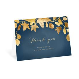 Wedding Thank You Cards: Golden Leaves Navy Thank You Card