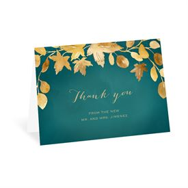 Wedding Thank You Cards: Golden Leaves Pool Thank You Card