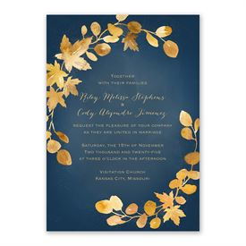Golden Leaves Navy Invitation with Free Response Postcard