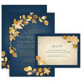 Wedding Invitations: Golden Leaves Navy Invitation with Free Response Postcard