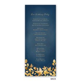 Golden Leaves - Navy - Wedding Program