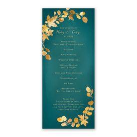 Golden Leaves Pool Wedding Program