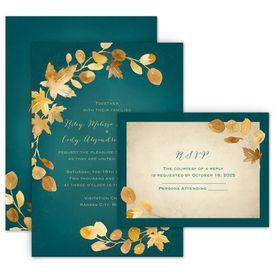 Wedding Invitations: Golden Leaves Pool Invitation with Free Response Postcard