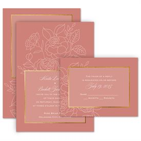 Gold Wedding Invitations: Delicate Blooms - Invitation with Free Response Postcard
