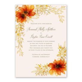 Autumn Blossoms Invitation with Free Response Postcard