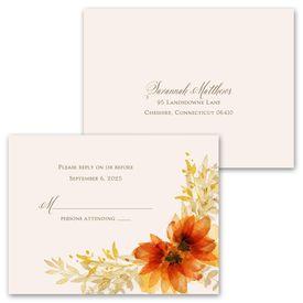 Autumn Blossoms - Invitation with Free Response Postcard