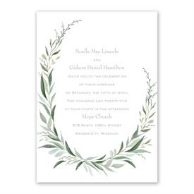 Wrapped in Greenery Invitation with Free Response Postcard