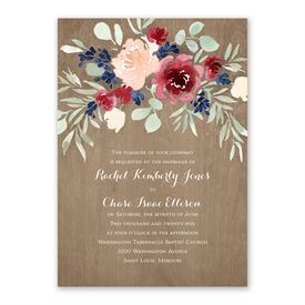 Natural Blooms Invitation with Free Response Postcard