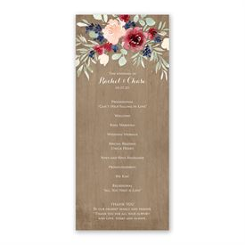Natural Blooms Wedding Program