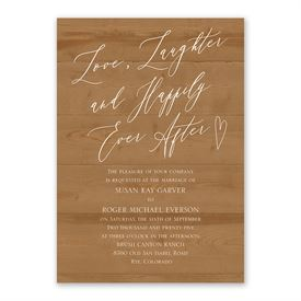 Natural Love Timber Invitation with Free Response Postcard