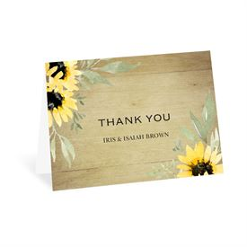 Wedding Thank You Cards: Natural Sunflower - Thank You Card