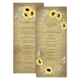 Wedding Programs: Natural Sunflower Wedding Program