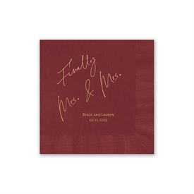 Personalized Wedding Napkins: Finally Mrs. and Mrs. - Foil Cocktail Napkin