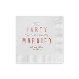 Personalized Wedding Napkins: Party Time - Foil Cocktail Napkin