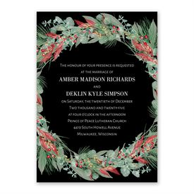 Golden Greens Ebony Invitation with Free Response Postcard