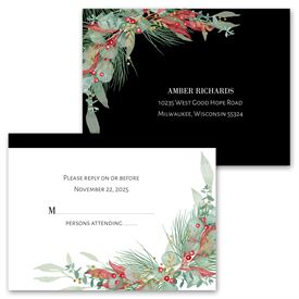 Golden Greens - Ebony - Invitation with Free Response Postcard