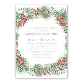 Golden Greens White Invitation with Free Response Postcard