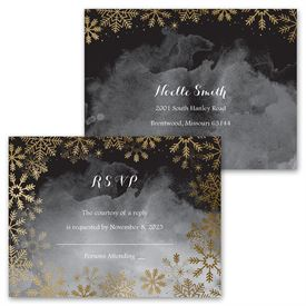 Sparkling Flurry - Gold - Invitation with Free Response Postcard