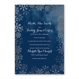 Sparkling Flurry Silver Invitation with Free Response Postcard