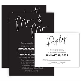 Wedding Invitations: Classic Couple Mr. and Mr. Invitation with Free Response Postcard