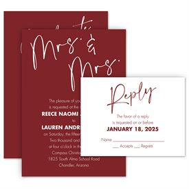 Wedding Invitations: Classic Couple Mrs. and Mrs. Invitation with Free Response Postcard