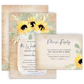 Wedding Invitations: Pretty Sunflower Invitation with Free Response Postcard
