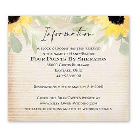Wedding Reception Cards: Pretty Sunflower Information Card