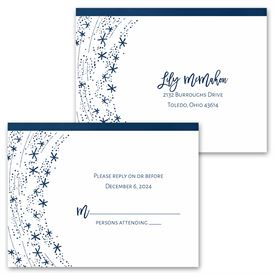 Swirling Snowflakes - Invitation with Free Response Postcard