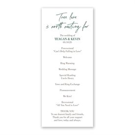True Love Wedding Program