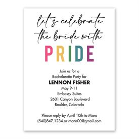 Bride with Pride Bachelorette Party Invitation