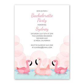 Pink Flamingo Bachelorette Party Invitation
