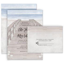 Destination Wedding Invitations: By the Seashore Invitation with Free Response Postcard