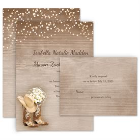 Wedding Invites Free Respond Cards: Country Chic Invitation with Free Response Postcard