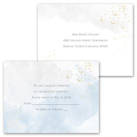 Sweetly Serene - Blue -  Invitation with Free Response Postcard