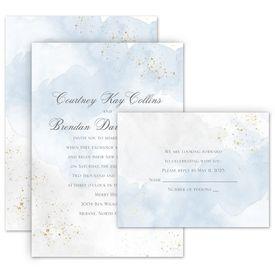 Elegant Wedding Invitations: Sweetly Serene Blue Invitation with Free Response Postcard
