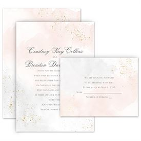 Elegant Wedding Invitations: Sweetly Serene Powder Invitation with Free Response Postcard